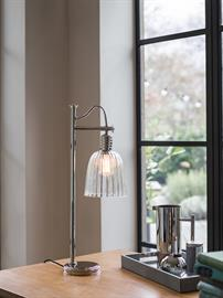 NEW FOR SUMMER 2017! With its antique industrial styling, the Douille range is ideally suited for Edison style LED filament lamps. The range includes a sconce, 5lt chandelier, table lamp and single pendant. It is available in Aged Brass or Polished Nickel. The lamp-holders have a removable shade ring so optional glass shades can be added to all fittings - as demonstrated in this picture.