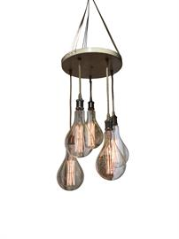 "This light adds a touch of shabby chic to any room.  This light can be customized with your finish, cord, socket and bulb selections.  As shown with Antique White Crackle finish, Hemp cord, Matte Black sockets and Teardrop Spiral bulb.  Size:  16"" Diameter"