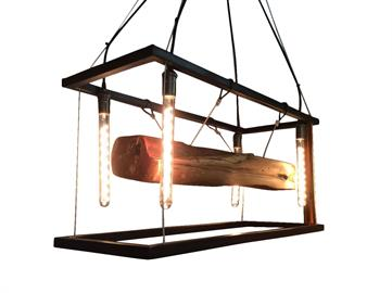 This light features two hand-made metal frames suspended by cables that showcase a beautiful wood beam