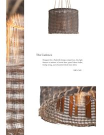 Designed for a Nashville design competition, this light features a mixture of wood slats, giant Edison bulbs, burlap string, and a beautiful check linen fabric.