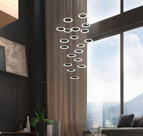 Available in four finishes, Royyo Pendant adds an elegant flair to any space with its pleasing circular design. Multiple Royyo Pendants can be combined to make a stunning circular focal point, a linear configuration, or just one can be hung for a minimalist aesthetic.