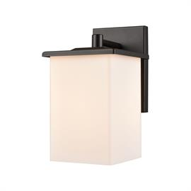 Broad Street 1-Light Exterior Wall Sconce in Textured Black