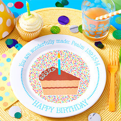 "BEST SELLER! Celebrate the special creation that every child is with the festive Fruit-Full Kids Birthday Plate. Psalm 139:14 reminds every child that they are ""wonderfully made!""  Plate is 9"" in diameter. Made from 100% non-toxic, BPA-free melamine. All Fruit-Full Kids plates are sturdy enough for daily use and dishwasher safe, but please don't use them in the microwave."