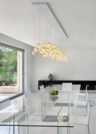 Artisan contemporary glass pendants light chandelier. Contemporary modern white dining chandelier. A modern chandelier with beautiful fused glass light drops. The beautiful glass pendants are designed in a soft round curved design that brings beauty and elegance to the space. The chandelier is available in any size and length, in 30 different colors, and different canopies. Our beautiful lighting designs are custom design and can be designed to fit your space, with any number of fixtures, color and size,