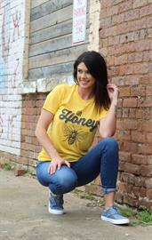 "Rich in color and soft, our ""Oh Honey"" design is so fun!"