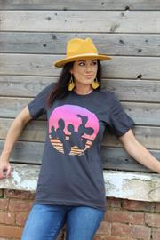 "Combining our love for Texas sunsets and cactus, we have our colorful ""Cactus Sunset"" design."