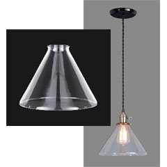Glass cone shade with fixture