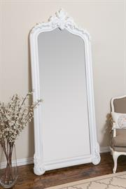 French Traditional Leaner Mirror, wood frame, crown molding detail.  Available in two finishes.