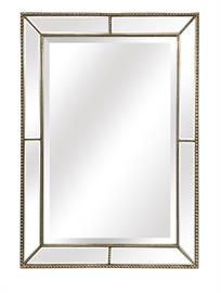 "Roxeburghe wall mirror features solid wood frame with bead detail in a brushed silver finish with inset beveled mirror glass panels. Overall Dimension: 30.5"" x 41"" x 1.5"""