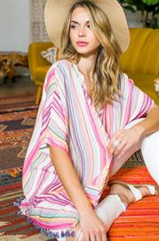 Tassels Bottom Multi Color Stripe Print Open Front Half Sleeve Cardigan With Pocket