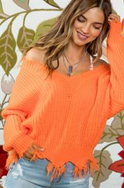 Frayed V Neck Sweater by Mainstrip