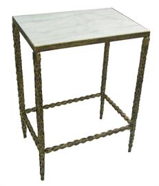 Hand made unique iron side tables, cocktail tables with a range of tops - glass, marble, granite