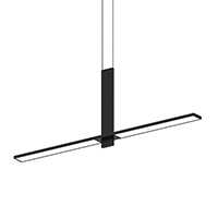 Suspended from slender parallel cables, an LED flat panel silhouette intersects with the flat face of a vertical plane, in balanced simplicity.