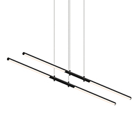 Dramatic in the precision of their orientation, LED rods are suspended in a tandem pair. Each rod can be independently positioned as up or down light.