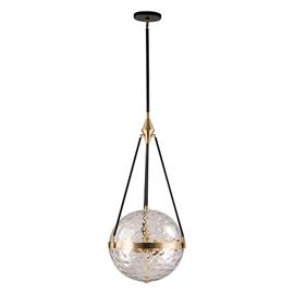 Various elements working in perfect balance, is exactly what Harmony is. A Water or Opal glass globe is suspended within our lavish Natural Brass frame, all held by contrasting black arms. Creating a classic and serene fixture.
