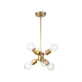 The art-deco inspired Hexa is a play on the traditional light fixture with a hexagonal twist. This classic yet contemporary design is available in our stunning Vintage Brass finish. The bare bulb adds to its nostalgic elegance.