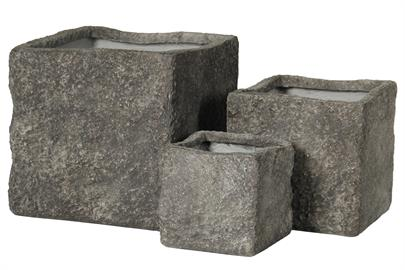 Planter sets made of re-formed crushed stone.  No drain hole, but ready for drilling.  Perfect for outdoor spaces.