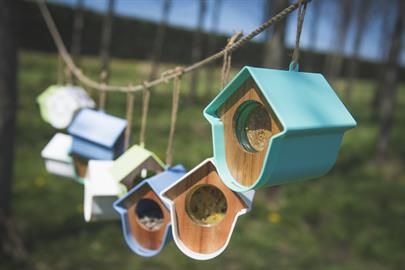 A contemporary bird feeder able to fit peanut butter jars and other tasty treats with a wide variety of colors and designs.