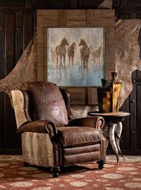 Beautiful, 100% top grain natural leather, the Cowboy Ivory Recliner is an Adobe Favorite! A solid hardwood frame sits at the center of the chair, which also includes a high-quality reclining mechanism and premium high-density cushioning. 100% Texas Made!