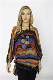 Lior One Size Float Top in Vibrant Multi Color Print