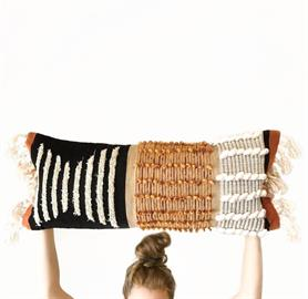 12x34 Black and Orange Textured Lumbar Pillow