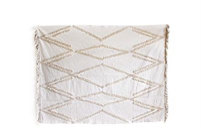 Beige Throw Blanket with Aztec Designs