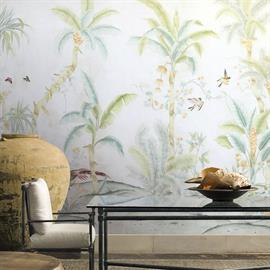 "Chinoiserie mural available on Type I & Type II commercial wallcoverings. Mural contains 5 panels, each 36"" wide x 120"" tall, covering 15 linear ft before scene repeats. Note: Panel 5 joins back to panel 1. 1 color available. Lead time is 4-6 weeks."