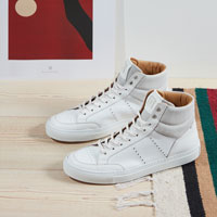 The ANA. A high top inspired by 1980s basketball shoes.  A contemporary blend of iconic sports shapes and premium materials, ANA is a lightweight shoe constructed for maximum comfort.  Crafted from luxurious calf skins, nubuck and calf suedes, the shoe incorporates a cup sole in genuine rubber.