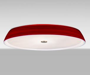 Our Sophi Flush mount is a low profile contemporary design, composed of a softly radiused blown glass shade. The striking colored glass emits a stunning glow, while the frosted glass diffuser serves to transmit useable illumination to the space. http://www.besalighting.com/products/ceiling-luminaries/flush-mount/sophi-14-18