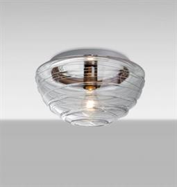 ..      Clear   The Wave is a half globe-shaped clear glass, with a romantic wrap of glass rope that spirals around the exterior. This blown glass combination is handcrafted by a skilled artisan, utilizing century-old techniques passed down from generation to generation. http://www.besalighting.com/products/ceiling-luminaries/flush-mount/wave