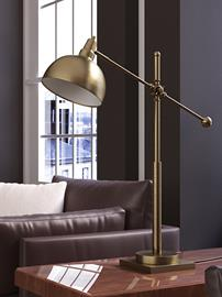 Cupola table lamp from Lite Source features polished brass finish metal body and a large scoop shade. Detailed knobs and joints connect the adjustable arms. Cupola collection also includes single-lite and a 2-lite floor lamps for your choice.