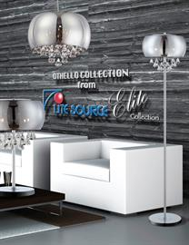 "Sleek modern styling created with a smoke mirrored convex glass shade, complimented with stacked full facet cut crystals to create that ""Modern"" drama for any room."