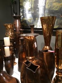 Glass vases in copper color