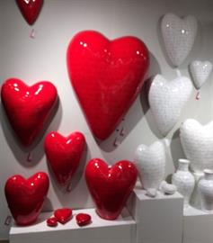 Puffy hearts for your wall