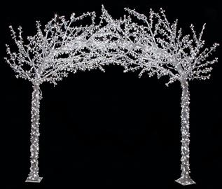 8.25' x 9' Crystal Arch Tree with 2,600 White 5mm LED Lights. Adaptar and Stand Included.  7 Multi-Color LED Tree Also Available.