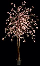 Pink Cherry Blossom Tree with 1,292 Flowers on Natural Wood Trunk with Weighted Base