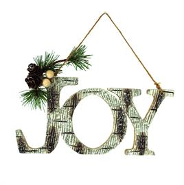 Hanging Joy ornament with a Birch finish and festive accents