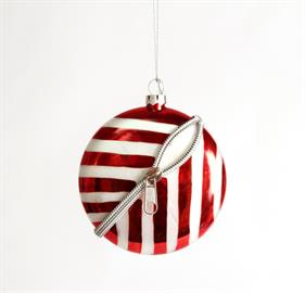 "4"" Red and White holiday ornament with decorative zipper"