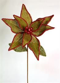 Olive Burlap Poinsettia with Red yarn accent and holiday bells in the center