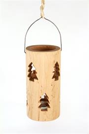 "10"" Fresh cut wood candleholder with Christmas tree cut-outs"