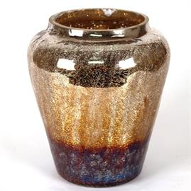 "12"" Multi-color crackle finish glass container"
