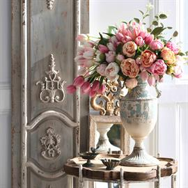 Clean and elegant with sophisticated florals and antique brass accents.