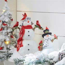 A snowy Christmas with color accents to match Mr. Snowman's top hat