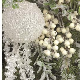 The frosty beauty of ice and crystals, combined with pine and berries for a breathtakingly beautiful holiday theme.