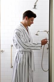 "100% cotton loop terry robe will quickly become a bathroom fixture. Spa like white ground with grey stripes delivers that spa-like feel in an updated look. Robe measures 50"" from centerback neckseam, Shawl collar, 2 roomy front pockets, Adjustable belt loop allows for the perfect fit."