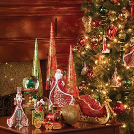 Traditional Christmas tree themes featuring beautifully sculpted figures in designs for today.