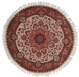 "High quality hand knotted silk and wool Persian Tabriz 6' 8"" round area rug."