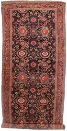 "Antique gallery size hand knotted wool Persian Kurdish 6' 10"" x 19' 10"""