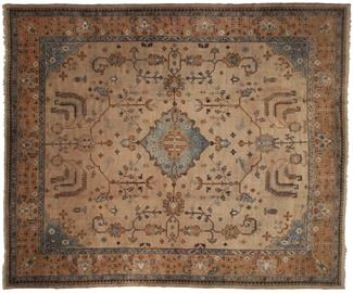 "Antique hand knotted wool Turkish Oushak area rug 12' 1"" x 14' 8"""