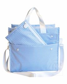 Our biggest bag with 4 pockets inside and  out - made in our signature wipeable gingham- detachable strap- perfect overnight or day bag for the whole family